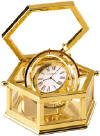 Howard Miller Solid Brass Glass Box Clock Gimbals